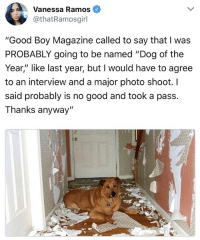 "took a pass on that one: Vanessa Ramos  othatRamosgirl  ""Good Boy Magazine called to say that I was  PROBABLY going to be named ""Dog of the  Year,"" like last year, but I would have to agree  to an interview and a major photo shoot. l  said probably is no good and took a pass.  Thanks anyway"" took a pass on that one"