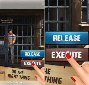 Mobile adds: Vanguard (LV 42)  Mayor:Frederic  RELEASE  EXECUTE  RELEASE  EXECUTE  ЧЕ  THING  DO THE  RIGHT THING  u/NAFirewings Mobile adds