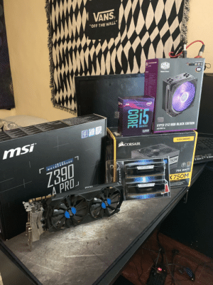 """Finally, after being away from the PCMR for close to 3 years i'm finally back and it feels so good: VANS.  """"OFF THE WALL""""  COOLER  MASTER  MakeR Yours  RGB  SISS  STR EEN  intel  15  inte  OPTANE  CORE  UNLOCKED  CHIPSET  HYPER 212 RGB BLACK EDITION  with RGB Fan  mSi  15-9600K  LCAT151  CORSAIR  CXM SERIES  INTEL  MOTHERBOARD  Z390  EME  750M  80  EYET TYTTY  750 WATT  K750M  EA PRO  adN ATX MODULAR  CORE  RIPJAWSV  msi  ISU Finally, after being away from the PCMR for close to 3 years i'm finally back and it feels so good"""