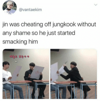 Cheating, Bts, and Shame: @vantaekim  jin was cheating off jungkook without  any shame so he just started  smacking him  E)#2 보는.. xD. Jungkook BTS #RunEpisode34