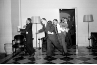 Dude, Reddit, and Shit: vaporwavevocap:  josef-tribbiani:  historicaltimes:   Reporters running to the phones in the White House West Wing, after the Pearl Harbor attack, December 1941. via reddit   They….they are smiling  One dude might be. We don't know why or if he really is. Shut up with this shit.  One dude? I count three.