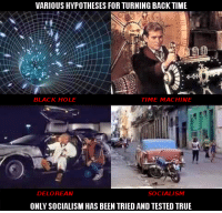DeLorean: VARIOUS HYPOTHESES FOR TURNING BACK TIME  TIME MACHINE  BLACK HOLE  DELOREAN  SOCIALISM  ONLY SOCIALISM HAS BEEN TRIED AND TESTED TRUE