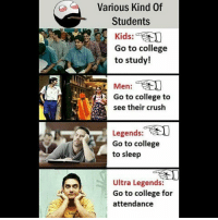 Be Like, College, and Crush: Various Kind Of  Students  Kids:  Go to college  to study!  Men:  1-  Go to college to  see their crush  Legends:  Go to college  to sleep  Ultra Legends:  Go to college for  attendance Twitter: BLB247 Snapchat : BELIKEBRO.COM belikebro sarcasm meme Follow @be.like.bro