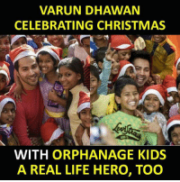 varun dhawan: VARUN DHAWAN  CELEBRATING CHRISTMAS  le  WITH ORPHANAGE KIDS  A REAL LIFE HERO, TOO