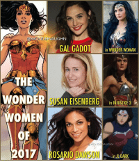 "Batman, Journey, and Memes: VAUGHN  AONDERVA  GAL GADOT  in WONDER WOMAN  THE  WONDER SUSAN EISENBERG  in INJUSTICE 2  WOMEN  OF  VAUGHN  DE OSARIO DAWSON  2017  ULDARK WONDERful Women: Part 1 The legacy of Wonder Woman as a character and cultural icon touches many platforms of entertainment. * This year we saw the continuation of Princess Diana's cinematic journey as @gal_gadot embarked on her solo adventure, which started in last year's ""Batman v Superman"". * @susaneisenberg21 returned to the character she made even more popular on ""Justice League Unlimited"". She voices the Warrior Goddess in the gaming series ""Injustice 2"". * @rosariodawson's voice work as part of their shared animated universe of films started with ""JL: Throne of Atlantis"". It continued with ""JL vs Teen Titans"" and now ""JL Dark"". *** mywonderwoman girlpower women femaleempowerment MulherMaravilha MujerMaravilla galgadot unitetheleague princessdiana dianaprince amazons amazonwarrior manofsteel thedarkknight rosariodawson"