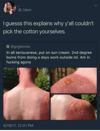 "Dank, Fucking, and Logic: @ Vaun  I guesss this explains why y'all couldn't  pick the cotton yourselves.  G @grgbinnie  In all seriousness, put on sun cream. 2nd degree  burns from doing a days work outside lol. Am in  fucking agony  6/19/17, 12:41 PM <p>Reasonable logic lol. via /r/dank_meme <a href=""https://ift.tt/2ICELPR"">https://ift.tt/2ICELPR</a></p>"