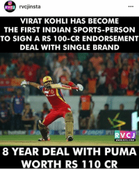 Success of Virat Kohli.: VC J  rvcjinsta  VIRAT KOHLI HAS BECOME  THE FIRST INDIAN SPORTS-PERSON  TO SIGN A RS 100-CR ENDORSEMENT  DEAL WITH SINGLE BRAND  VC J  WWW. RVCJ.COM  8 YEAR DEAL WITH PUMA  WORTH RS 110 CR Success of Virat Kohli.
