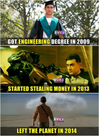 Memes, Planets, and Aamir Khan: VCJS  GOT ENGINEERING DEGREE IN 2009  STARTED STEALING MONEY IN 2013  V CJ  LEFT THE PLANET IN 2014 Aamir Khan.
