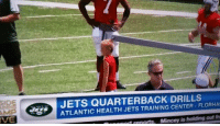 Jets, The Play, and Jet: VE  JETS QUARTERBACK DRILLS  ATLANTIC HEALTH CENTER FLORHAI  Mincey is holding out fr The Jets are so bad at QB they had to bring in the Play 60 kid...