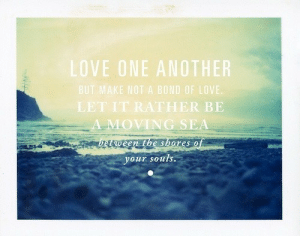 Life, Love, and Quotes: VE ONE ANOTHER  E NOT A BOND OF LOVE.  LET IT RATHER BE  LOVING SEA  etween  Ebe shotes o  your souls. Love one another  Follow for more relatable love and life quotes!!