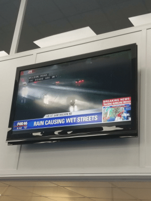 News, Streets, and Breaking News: VE  WI LSON ROAD  THE ROADS ARE WE T  BREAKING NEWS  TRACKING HURRICANE MICHAEL  HURRICANE MICHAEL  I-85 AT SAM WILSON RD  RAIN CAUSING WET STREETS  5:42 72°  LIVE My local news station providing hard hitting journalism.