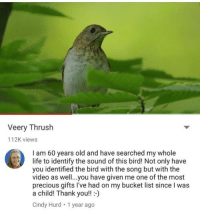 "Bucket List, Life, and Precious: Veery Thrush  112K views  I am 60 years old and have searched my whole  life to identify the sound of this bird! Not only have  you identified the bird with the song but with the  video as well...you have given me one of the most  precious gifts l've had on my bucket list since I was  a child! Thank you!!-)  Cindy Hurd 1 year ago <p>Veery Thrush via /r/wholesomememes <a href=""http://ift.tt/2pKCpcS"">http://ift.tt/2pKCpcS</a></p>"
