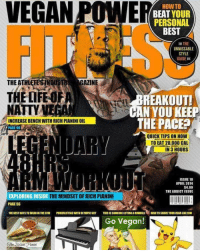 Memes, Lemonade, and 🤖: VEGAN POME  HOW TO  I BEAT YOUR  PERSONAL  BEST  THE  UNMISSABLE  STYLE  GUIDE  THEATHLETESINDU  GAZINE  THE LIFE  BREAKOUT!  iff CAN YOU KEEP  NATTY  THE PACE  INCREASE BENCH WITH RICH PIANINIOIL  PAGE 98  NDARY  QUICK TIPS ON HOW  TO EAT 20,000 CAL  IN 3 HOURS  ISSUE 18  APIIL 2014  $4.99  THE ADDICT ISSUE  EXPLORING INSIDE  THE MINDSET OF RICH PIANINI  PAGE 56  TIEBESTHATSTOWEMMINTHEGYM  POWEALIFTING WITIOLYMPICGUY  THIS ISSOMEONELIFTINGADUMEELI  HOW TO SIIA VE YOUR HEAD LIKE HIM  Go Vegan!  She Italian Panini Congrats to @1dayumay who was on the cover of Vegan Power Fitness. natty vegan dogs cats fitness pizza love instagram usa instagood gym richpiana lol lmao magazine fun earth movies lemonade cocacola trump dccomics marvel gymmotivation bodybuilding cute tattoo ripped