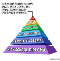 Vegan, Masters, and Phd: VEGANS WHO DON'T  FIND THE NEED TO  TELL YOU THAT  THEY'RE VEGAN  PHD  MASTER'S DEGREE  BACHELOR'S DEGREE  ASSOCIATE'S DEGREE  HIGHSCHOOL DIPLOMA  FUNNYSDIE