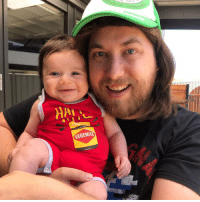 Dad, Instagram, and Memes: VEGEMITE Dad based content over on me Instagram. Hope youse are having a mint day. Cordially, Ozzy Man & Ozzy Baby xo P.S. his mullet is way better than mine.