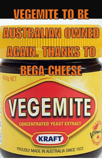 Best thing I've heard all year 🙌🙌: VEGEMITE TO BE  AUSTRALIAN OWNED  AGAIN THANKS TO  BEGA CHEESE  EMI  CONCENTRATED YEAST EXTRACT  KRAFT  SINCE 1923  PROUDLY MADE INAUSTRALIA Best thing I've heard all year 🙌🙌