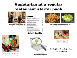 """Vegetarian at a regular restaurant starter pack: Vegetarian at a regular  restaurant starter pack  MEAT  15 oz. Charbroiled New York Sirloin Steak  30.95  Angelo & Maxie's 26 oz. Ribeye Steak (Blackened Upon Request)  32.95  Porterhouse Steak Deluxe for Two  per person  24 oz. Charbroiled T-Bone  30.95  30.95  13 oz. Grilled Filet Mignon (Béamaise Available Upon Request)  13 oz. Filet Mignon au Poivre  31.95  32.50  Teriyaki Filet Mignon with Scallions, Mushrooms & Onions  32.50  Marinated Roumanian Steak with Grilled Onions  shutterstock.com 586680266  Grilled Veal Chop with Lemon Parsley Butter  Grilled Double Cut Rack of Lamb with Mint Jelly  Maxie's Chopped Steak with Sautéed Onions  Grilled 10 oz. Burger, Served on an oversized Kaiser Roll  25.95  """"Are you guys ready to order or do  you need a few more minutes?"""" x10  33.95  31.95  20.95  Fries or a bowl of plain lettuce are the  13.95  (Mushrooms, Onions, Bacon, or Cheese Available)  only truly meat free options  NOT MEAT  Steamed Maine Lobsters  P/A  2 lb. Roasted Chicken Breast with Garlic Lemon Black Pepper Crust  20.95  10 oz Broied Herb-Crusted Salmon over Sautéed Vegetables  22.95  Jumbo Shrimp Scampi  27.95  Grilled 10 oz. Yellowfin Tuna with a Soy Glaze & Braised Seasonal Greens  Grilled Assorted Vegetable Plate  27.95  16.95  Bullshit like this  EDEN  Quiet Moon  sfh  PURE  NUTS, SEECS & DRIED FFUIT  MAE OR NG OC  BLUE  DIAMOND  Having to thoroughly check  your meal before you eat it  Juatins  CHOCOLATE  ALMONDS  Whole Natura  lories  AZELNUT  BUTTER  K  BAR  ALMOND& COCONUT  FRU  BLEND  nature  Having to ask for ingredients  in everything  Bringing snacks/eating beforehand  Incase you can't find something to eat  Researching a  restaurant before hand  CHI  SHOTS  GLUTEN F  QUESTBAR Vegetarian at a regular restaurant starter pack"""