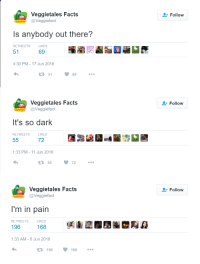 Facts, Pain, and VeggieTales: Veggietales Facts  @Veggiefact  Follow  Is anybody out there?  RETWEETS  LIKES  4:30 PM-17 Jun 2016  5169.   Veggietales Facts  @Veggiefact  Follow  t's so dark  RETWEETS LIKES  72  1:33 PM- 11 Jun 2016  5572   Veggietales Facts  Follow  ees@Veggiefact  I'm in pain  196 168 糾 2  RETWEETS L  ETS  LIKES  1:33 AM-6 Jun 2016  196  168