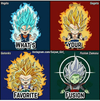 """Instagram, Memes, and Girl: Vegito  Gogeta  YOUR  WHATS  Instagram.com/Saiyan Girl.  Gotenks  Fusion Zamasu  FAVORITE  FUSION AOTD: Gogeta-Vegito Turn on post notifications 🙏🏻 - """"A strong body is not made in comfort."""" - @workoutdominator"""