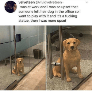 Fucking, The Office, and Work: velveteen @vividvelveteen  I was at work and I was so upset that  someone left heir dog in the office so I  went to play with it and it's a fucking  statue, then I was more upset just petting it for good luck… duh