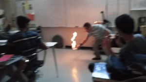 Definitely, Fire, and Puns: velvetyhugs:  teampokepals76:  gservator:  radglawr:  bishopmyles: Nope. when your teacher is trying to teach you how to cast fireball   +3 to Intellect   If anybody's wondering what's happening here, this clip made it onto Outrageous Acts of Science, and they explained that this teacher was demonstrating the Leidenfrost effect, which is basically when you place a droplet of a liquid on a surface that's far hotter than its boiling point. The part of the drop touching the hot surface turns into vapor and forms a cushion that the rest of the drop rests on top of, which causes it to skid across the floor so quickly.  The substance the teacher uses in the video is liquid methane. But methane has a really low boiling point. Like, about −160 °C low. So once it touches the comparatively hot floor, the Leidenfrost effect comes into play, and it slides across the floor. The issue is though, methane is colorless, so you can't normally see it. Thankfully (in this demonstration), methane is also very flammable, so he sets it on fire before dumping it onto the floor so you can see it as it moves.  Definitely a cooler demonstration of the Leidenfrost effect than dropping a little water in a hot pan.  Or hotter, if you like puns.   THANKS FOR EXPLANATION SCIENTIFIC SIDE OF TUMBLR