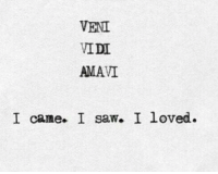 Saw, I Came, and Came: VENI  VIDI  AMAVI  I came. I saw. I loved.