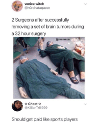 Sports, Tumblr, and Blog: venice witch  @hOrchataqueern  2 Surgeons after successfully  removing a set of brain tumors during  a 32 hour surgery  @memezar  Ghost  @KillianTrill999  Should get paid like sports players awesomacious:  They deserve it👏🏻