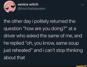 ": venice witch  @horchataqween  the other day i politely returned the  question ""how are you doing?"" at a  driver who asked the same of me, and  he replied ""oh, you know, same soup  just reheated"" and i can't stop thin king  about that  ifunny.co"