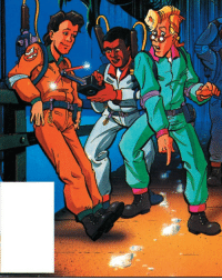 White, What, and Goo: Venkman looks like he knows exactly whats up with the mysterious white goo on the floor.