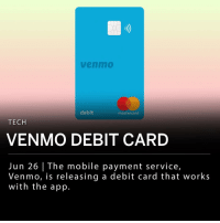 The mobile payment service owned by PayPal, Venmo, is releasing a debit card through MasterCard to accompany the app. Transactions will be recorded to a cardholder's Venmo app with an options to split purchases with others. The MasterCard version will replace a past beta version released as a Visa card. ___ Customers may now join a waitlist for the first limited release of Venmo cards.: venm0  debit  mastercard  TECH  VENMO DEBIT CARD  Jun 26 | The mobile payment service,  Venmo, is releasing a debit card that works  with the app. The mobile payment service owned by PayPal, Venmo, is releasing a debit card through MasterCard to accompany the app. Transactions will be recorded to a cardholder's Venmo app with an options to split purchases with others. The MasterCard version will replace a past beta version released as a Visa card. ___ Customers may now join a waitlist for the first limited release of Venmo cards.