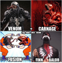 Credit to my good friend @wrestlingrenegade for pointing out that this Balor paint design looks like a combo of venom and carnage from SpiderMan. He inspired me to make this meme give him a follow his account is great 👉 @wrestlingrenegade 👈. wwe wwememes spiderman finnbalor demonking royalrumble bulletclub ajstyles sethrollins romanreigns deanambrose kevinowens nxt wwenxt wrestler wrestling prowrestling professionalwrestling worldwrestlingentertainment wwenetwork wwesuperstars raw wweraw mondaynightraw tripleh smackdown smackdownlive sdlive wwesmackdown wwefunny: VENOM  CARNAGE  @HE WHO LIKES SASHA  FUSION  FINN BALOR Credit to my good friend @wrestlingrenegade for pointing out that this Balor paint design looks like a combo of venom and carnage from SpiderMan. He inspired me to make this meme give him a follow his account is great 👉 @wrestlingrenegade 👈. wwe wwememes spiderman finnbalor demonking royalrumble bulletclub ajstyles sethrollins romanreigns deanambrose kevinowens nxt wwenxt wrestler wrestling prowrestling professionalwrestling worldwrestlingentertainment wwenetwork wwesuperstars raw wweraw mondaynightraw tripleh smackdown smackdownlive sdlive wwesmackdown wwefunny