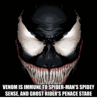 Click, Memes, and Spider: VENOM IS IMMUNETO SPIDER-MAN'S SPIDEY  SENSE, AND GHOST RIDER'S PENACE STARE I can't wait for the venom movie - - •if your in the market for a new chair click the link in bio and use code (GAMER)• - - • venom spiderman spidermanhomecoming marvel marvelcomics comicbooks