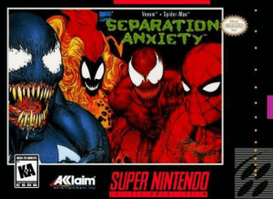 Nintendo, Spider, and SpiderMan: VenomSpider-Man  SEPARATION  ANXIETY  KA  AKlaim SUPER NINTENDO  towEN ATT Me n the boys posing for an actual Spider-Man game cover