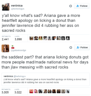 Ass, Jennifer Lawrence, and News: verónica  Follow  @herbologys  y'all know what's sad? Ariana gave a more  heartfelt apology on licking a donut than  jennifer lawrence did 4 rubbing her ass on  sacred rocks  LIKES  RETWEETS  2,44  3,898   Follow  @galaxiesedge  the saddest part? that ariana licking donuts got  more people mad/made national news for days  than jlaw messing with sacred rocks  verónica @herbol ogys  y'all know what's sad? Ariana gave a more heartfelt apology on licking a donut than  jennifer lawrence did 4 rubbing her ass on sacred rocks  RETWEETS  LIKES  3,005  3,022 blackness-by-your-side:I wish one day people would start to respect sacred rocks and Native Americans.
