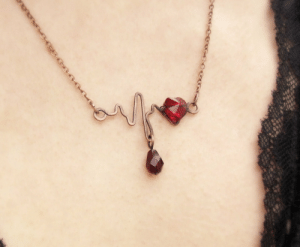 Tumblr, Blog, and Etsy: veranasfa:  Romantic heartbeat necklace, Swarovski red heart crystal jewelry, customized Valentines gift for girlfriend