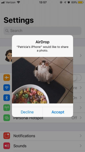 "College, Funny, and Iphone: Verizon  13:57  Settings  Q Search  AirDrop  ""Patricia's iPhone"" would like to share  a photo.  re >  Decline  Accept  Personal Hotspot  Off>  Notifications  Sounds In my college's caf and this happened. Thank you stranger via /r/funny https://ift.tt/2FoiiZB"