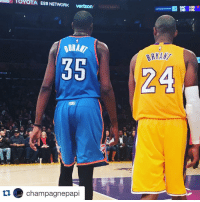 """Kevin Durant, Kobe Bryant, and Shoes: Verizon  35  tu champagnepapi  SAC 108  F  IND 106  BRYAN  24 After last night's game, Kevin Durant & Kobe Bryant exchanged shoes. Kobe's inscription: """"To KD, be the greatest."""" 💯💯💯"""