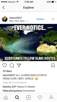 """Africa, New York, and Straight Outta: Verizon  7:05 AM  48%  Explore  mtzm2017  New York, New...>  Follow  EVERINOTICE..  HUBRICANES FOLLOW SLAVE ROUTES  74 likes  mtzm2017 ALL HURRICANES STARTS  FROM CAPE VERT, AFRICA.  View all 9 comments  bowtie_427 Haarp in Alaska  hillaryforqueens hmmmmm <p><a href=""""http://memehumor.net/post/165047286638/trans-oceanic-sailing-routes-historical"""" class=""""tumblr_blog"""">memehumor</a>:</p>  <blockquote><p>Trans oceanic sailing routes + historical hurricane paths= Slaveicane, 2k17. Straight outta """"CAPE VERT""""</p></blockquote>"""