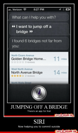 Sirihttp://omg-humor.tumblr.com: .. Verizon  8:27 PM  What can I help you with?  66 | want to jump off a  bridge 9  I found 6 bridges not far from  you:  North Cicero Avenue  11 miles  Golden Bridge Home...  **** O reviews  West North Avenue  14 miles  North Avenue Bridge  2 reviews  North Wells Street  JUMPING OFF A BRIDGE  There's an app for that  TASTE OF AWESOME.COM  SIRI  Now helping you to commit suicide  TASTE OF AWESOME.COM Sirihttp://omg-humor.tumblr.com