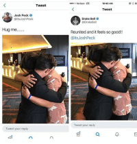 Drake, Drake Bell, and Memes: Verizon LTE  10:40 AM  Tweet  Tweet  Josh Peck .  @ltsJoshPeck  Drake Bell  @DrakeBell  Hug me.  Reunited and it feels so good!!  @ltsJoshPeck  Tweet your reply  Tweet your reply  可 Dont let this distract you from the fact Josh didn't invite Drake to his wedding @savagememesss