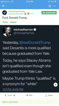 "R Blackpeopletwitter: Verizon LTE  5:52 PM  1 36%  r/BlackPeopleTwitter  u/graysonalexanderS3h  + SUBSCRIBE  Fuck Donald Trump  Funny Memes  michaelharriot o  ˋ少@michaelharriot  Yesterday, @realDonald Trump  said Desantis is more qualifiedd  because graduated from Yale  loday, he says Stacey Abrams  isn't qualified even though she  graduated from Yale Law  Maybe Trump thinks ""qualified"" is  a synonym for ""white""  11/1/18,9:45 PM  14.3K  605  1, Share  Add a comment"