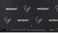 Nfl, National Hockey League (NHL), and Verizon: verizon  verizon  verizon  verizo  NHL  PIT sby: GW OT Goal(10), 2 Ast  Murray: Left game (apparent leg injury)  ESFR Nobody came to Tom Savage's postgame press conference 😅  https://t.co/jnfvgXyoRU