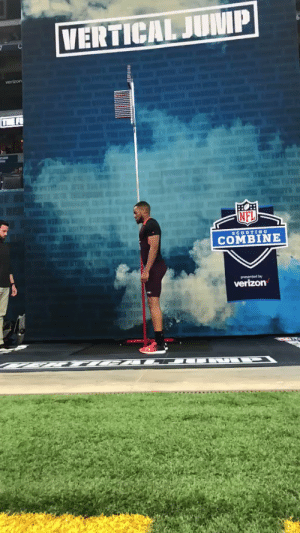 "Memes, Nfl, and Verizon: VERTICAL JUMP  verizon  T F  NFL  SCOUTING  COMBINE  verizon OKAY. @Juan_Thornhill just jumped 44"" in the vertical!   One inch shy of the Combine record 😱  @UVAFootball 