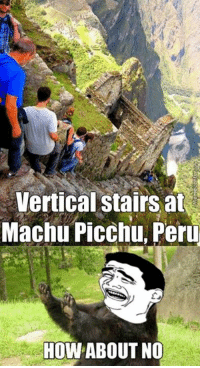 Would you walk here??: Vertical Stairs at  Machu Picchu Peru  HOW ABOUT NO Would you walk here??