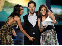 Very Funny Picture: Paul Rudd Sexually harassing by Rosario Dawson While holding a fork: Very Funny Picture: Paul Rudd Sexually harassing by Rosario Dawson While holding a fork