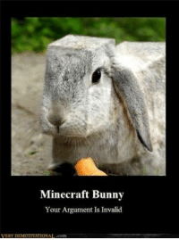 Bunnies, Memes, and Argument Is Invalid: VERY  Minecraft Bunny  Your Argument Is Invalid  AL.com This one looks more legit than the bear!  Bear from previous post .. http://goo.gl/BQU8Tc