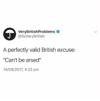 "True: VeryBritishProblems  @SoVeryBritish  A perfectly valid British excuse:  ""Can't be arsed""  14/09/2017, 4:22 pm True"