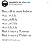 Christmas, Memes, and Summer: VeryBritishProblems  @SoVeryBritish  Things Brits never believe:  How hot it is  How cold it is  How dark it is  How light it is  That it's nearly Summer  That it's nearly Christmas  28/08/2017, 4:43 pm @pretty52 is a must follow