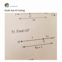 Bored, Memes, and 16.5: @vesselkeith  trust me im trying  0  16  5) Find GF  9x+1 Im bored so........7+3x = 9x + 1..................(7-1)+3x = 9x..............6 = 9x - 3x...................6 = 6x................6-6 = 6x-6..............1 = x...............3(1)...............GF= 3