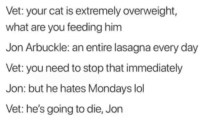 Lol, Mondays, and Lasagna: Vet: your cat is extremely overweight,  what are you feeding him  Jon Arbukle: an entire lasagna every day  Vet: you need to stop that immediately  Jon: but he hates Mondays lol  Vet: he's going to die, Jon meirl